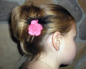 Flower Hair Clip, Hot Pink with a Black Feather Accent and Three Hot Pink Glass Beads