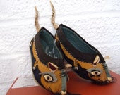 SALE PENDING Reserved  1940s Asian Child's Vintage Slippers (Year of the Rat)