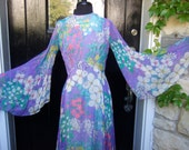 Reserved Sale Pending for Wendy 1970s Spectacular Pastel Chiffon Floral Gown