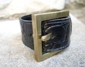Vintage Genuine Alligator Black Leather Unisex Bracelet by Johnny Farah