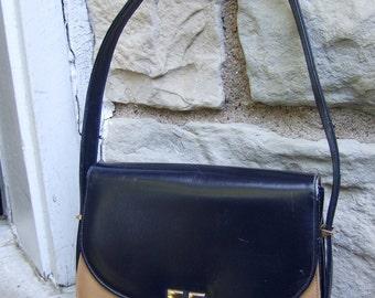 1970s Handbag Dark Navy Blue & Tan Leather by NICHOLAS REICH