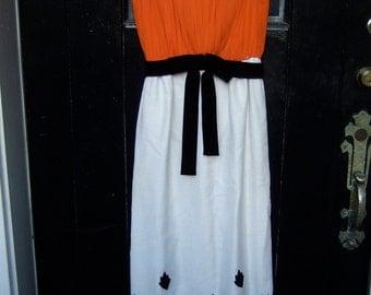 Vintage Chiffon Bodice Applique Gown c 1970