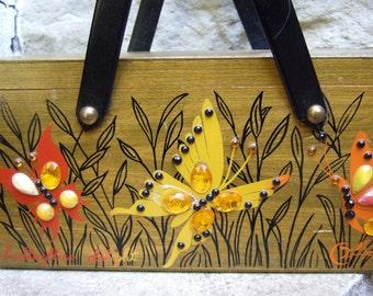 1970s Collins Jeweled Butterfly Wood Handbag