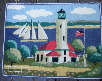 1970s Hand Knotted Nautical Lighthouse Hook Rug