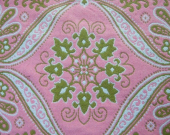 Vintage Paisley Pink & Chartreuse Reversible Blanket Cover c 1960-70