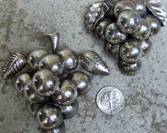 1950s Vintage Sterling Pair of Grape Brooches Made in Mexico