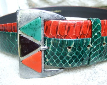 Vintage Snakeskin Wide Two Tone Belt c 1980s