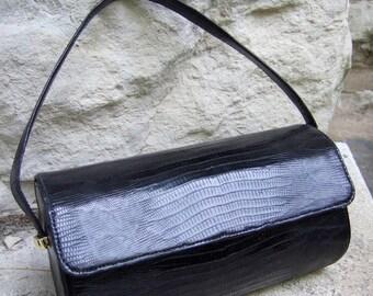 Sleek Vintage Black Lizard Cylinder Handbag c 1960 (Genuine)