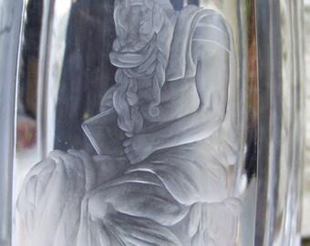 Art Deco Crystal Mythological Intaglio Vase