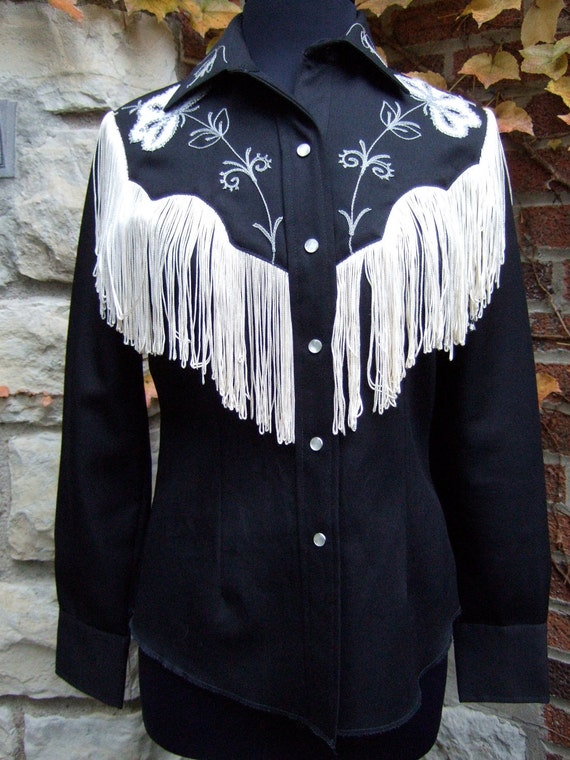 Reduced Western Shirt Womens With Fringe And Embroidery 1970 S