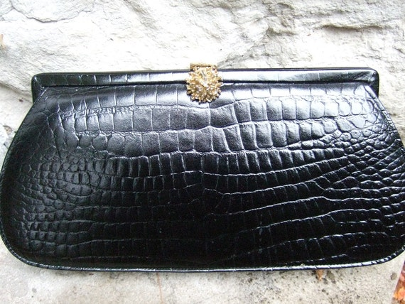 Vintage Black Leather Reptile Style Clutch