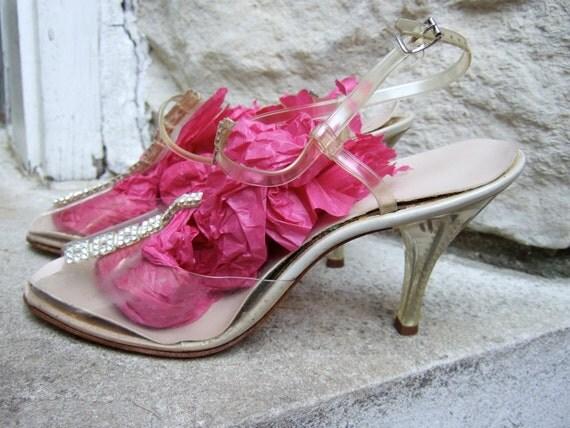 1950s Lucite T Strap High Heels