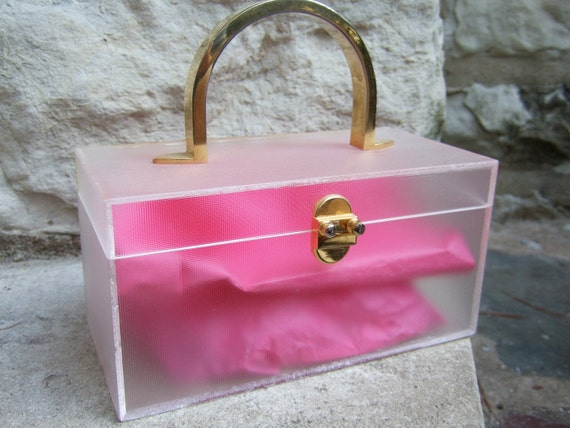 RESERVED SALE PENDING for Lui Vintage Frosted Lucite Gilt Trim Box Bag c 1970