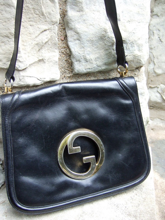 RESERVED for Tami Sale Pending GUCCI Vintage 1970s Blondie Black Leather Handbag (Authentic)