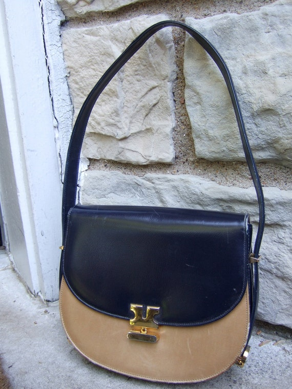 1970s Handbag Dark Navy Blue & Tan Leather by NICHOLAS REICH