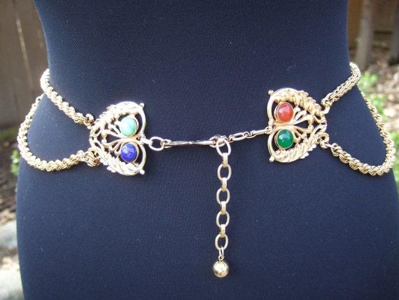 Vintage Jeweled Glass Cabochon Gilt Chain Belt