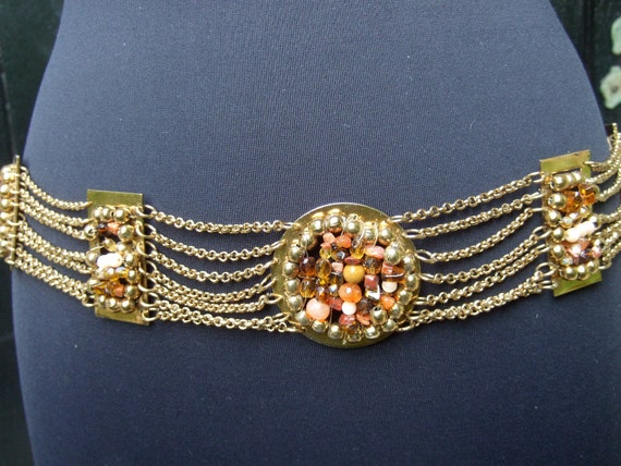 Opulent Gilt Chain Belt Embellished with Glass Rock & Crystal Stones