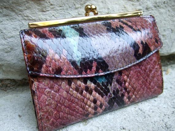 Genuine Vintage Python Pastel Wallet by Bosca