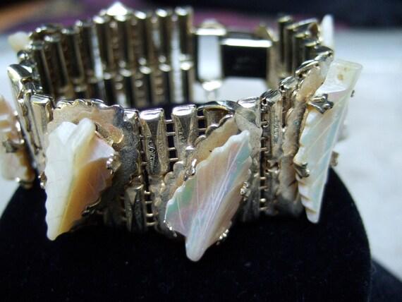 Vintage Mother of Pearl Gilt Link Bracelet by Kafin NY