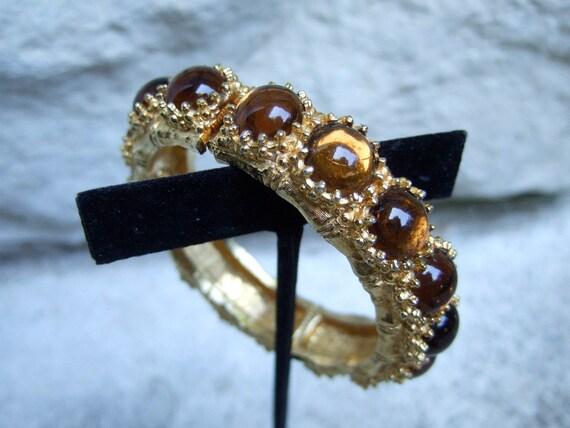 KEN LANE Glass Cabochon Gilt Bracelet