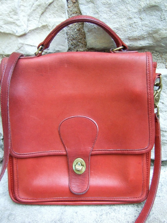 Coach Vintage 1980s Red Leather Handbag & Wallet