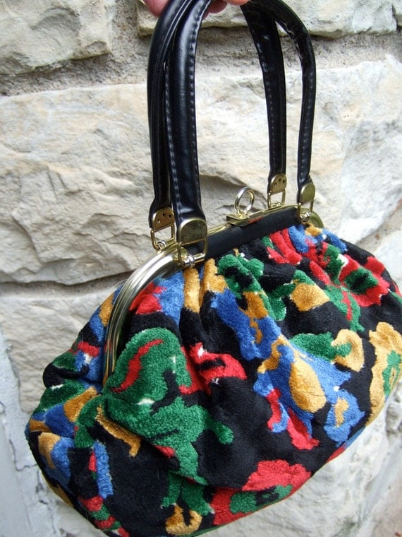 1970s Vintage Brocade Flower Handbag