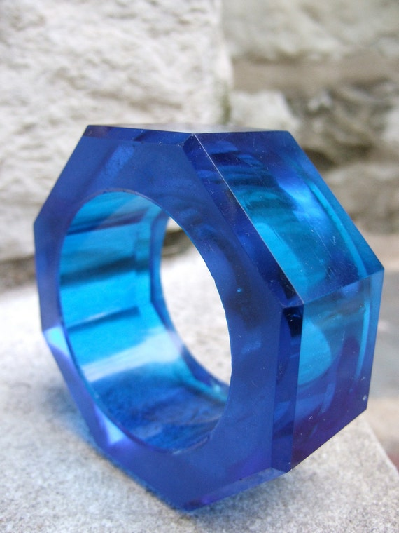 RESERVED for Andrea Sale Pending Vintage Crystal Glass Avant Garde Style Bracelet