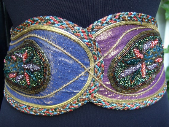 Exotic Belt 1980s Wide Dramatic Beaded Trim Accessory