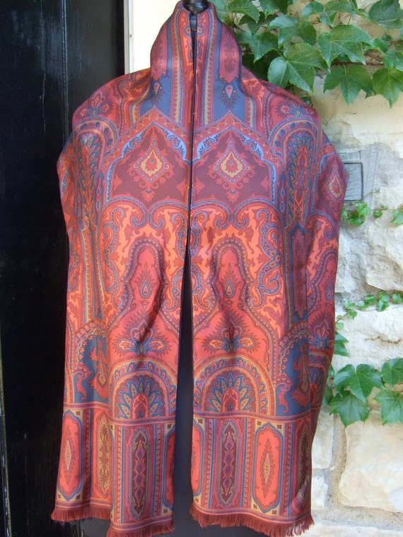Opulent Vintage Italian Paisley Silk Unisex Scarf