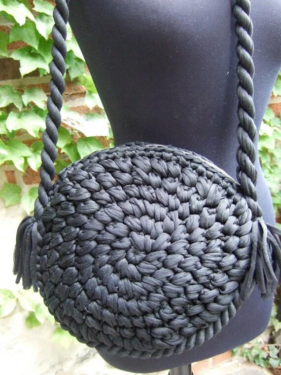 Vintage Black Circular Handmade Woven Knit Handbag
