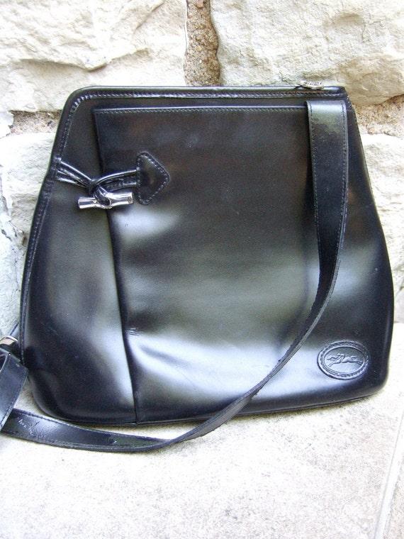 ON SALE Vintage Longchamp Elegant Black Leather Handbag