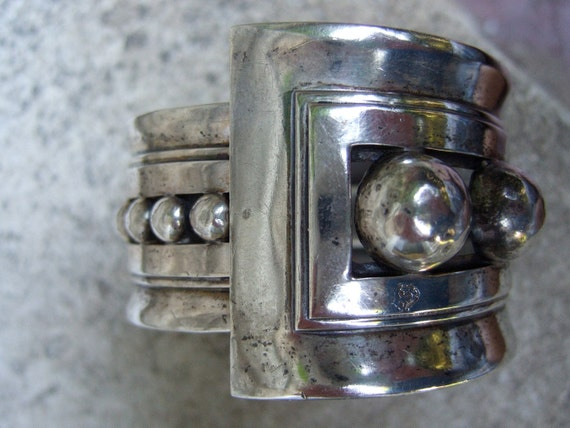 Reserved for Tracy Amazing Vintage Mexican Sterling Solid Wide Clamper Bracelet c 1950
