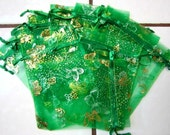 10 Brand New Organza Bags Lot 4 1/2 x 3 1/4 Green Butterfly Butterflies