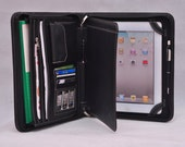 Item No: 4010 Top-level smooth genuine leather Multi-functional portfolio & iPad case iPad1,iPad2,iPad3 in Black