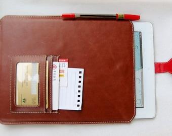 ipad pro 9.7'' folio,ipad pro 9.7'' case Leather iPad 4 bag,  iPad 4 case Leather cover iPad Mini  portfolio  for business in brown
