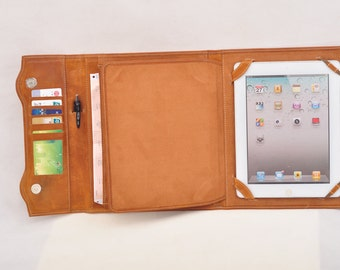 leather iPad case & iPad portfolio bag in fashionable triple folding design (Brown) for your ipad pro or galaxy for business for travelling