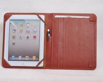iPad Pro 12.9 Portfolio  ipad pro 12.9  folio case Genuine Leather Business ipad pro Folio Cover Case with with ipad leather case in Brown