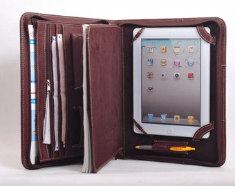 Item No: 4003 Top grain leather Multi-functional portfolio & case for iPad1,iPad2/3/4, or iPad Air in Coffee