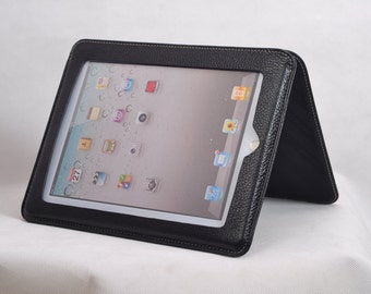Item No: 6002 Top grain leather simple iPad stands & iPad sleeve for iPad1,iPad2,iPad3 in Black