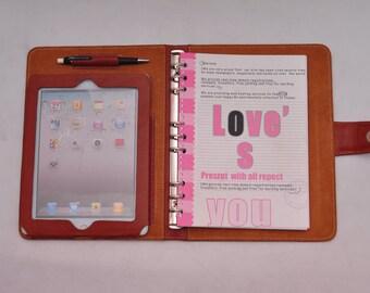 ipad 2 case ipad 4 case ipad mini case with notebook and calendar & ipad pro 9.7''case folio portfolio  in brown for birthday or business