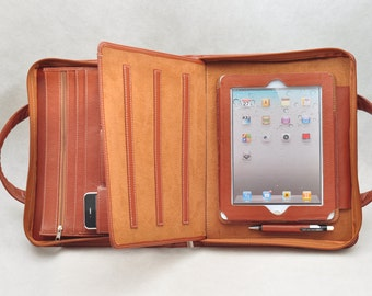 Item no: 8007 Hand bag as well as Multi-functional genuine leather portfolio & case for iPad1,iPad2, iPad3 in brown
