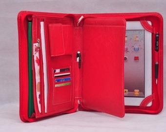 Genuine bride  leather iPad bag& iPad portfolio Gift  folio or birthday present for ipad4 ipad air2 ipad mini ipad pro 9.7'' in red