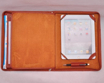 Top grain Multi-functional leather iPad case as your iPad portfolio for your iPad 1 or iPad 2 in brown