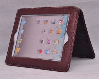 Item No: 6005 Top grain leather simple iPad stands & iPad sleeve for iPad1,iPad2,iPad3 in Coffee