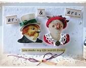 WEDDING CARD -  Handmade Post Card - Love Birds - Vintage style - Anthropomorphic animal