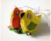 SOFT ORNAMENT -  Love Bird - Felt sculpture - Nature inspired, Woodland creatures