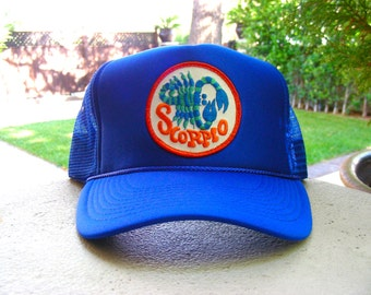 Vintage 70s SCORPIO Zodiac Astrology Patch stitched on New Snapback Trucker Cap / Hat