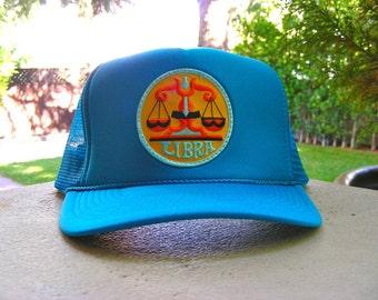 Vintage 70s LIBRA Zodiac Astrology Patch stitched on New Snapback Trucker Cap / Hat