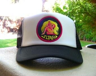 Vintage 70s VIRGO Zodiac Astrology Patch stitched on New Snapback Trucker Cap / Hat