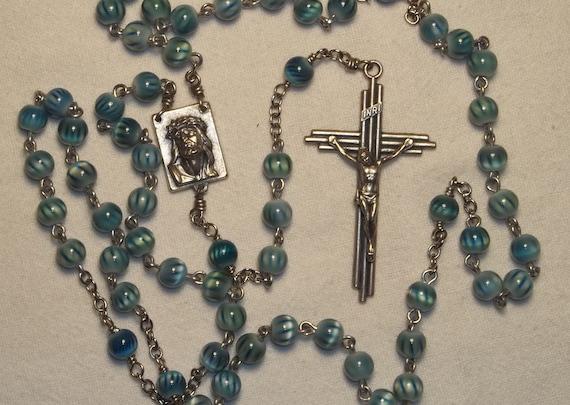 Blue Aqua striped 6mm First Communion Handmade Catholic Rosary w/pouch